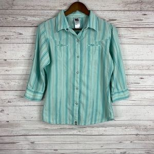 The North Face green stripe snap button down shirt